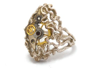 Steampunk Upcycled Genuine Watch Part Sterling Silver Ring