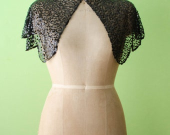 Vintage 1930s Black Sequin Silk Caplet