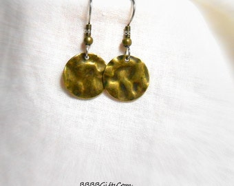 Bronzed Coin Hammered Earrings - Surgical Steel French Hooks Antiqued Bronzed