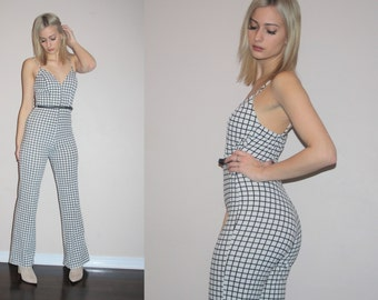 Vintage 1990s Black and White Graphic Jumpsuit   - Vintage  1990s Jumpsuits  - Vintage 90s Jumpsuits - W00230