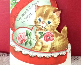 Vintage 1950s Valentine Card Kitty Cat Roses Candy Heart Shape Box Collectible Paper Ephemera Art Craft Scrap Booking