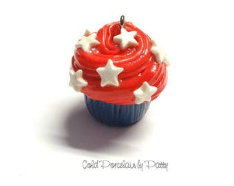 On Sale July 4th Cupcake Pendant, Cold Porcelain Clay Cupcake Charm, Independence Day Cupcake, Purse Charm /DIY July 4th Jewelry, Necklace