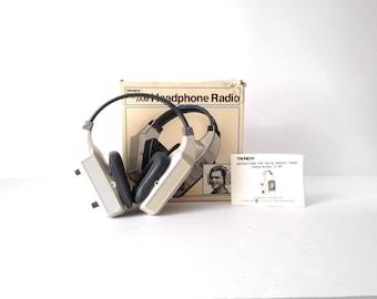 vintage RADIO headphones AM/FM radio wireless headset vintage 80s technology