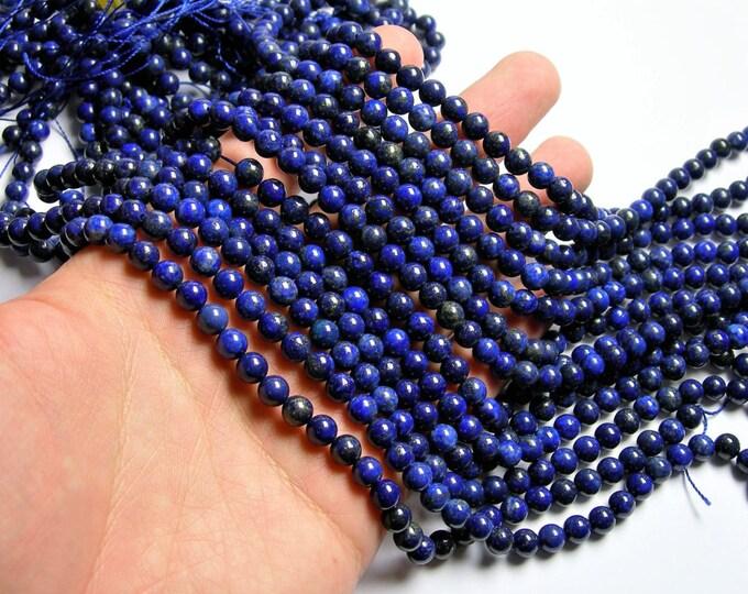Lapis lazuli 6mm -  round -  full strand  - 63 beads  - Dark Lapis - RFG1201