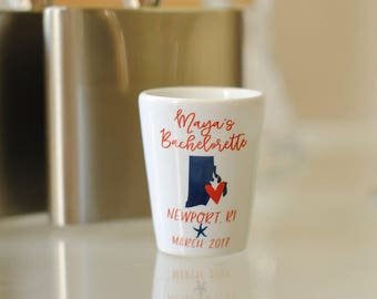 Bachelorette Party Shot Glass, Rhode Island Nautical Bachelorette, Bachelorette Gifts, Bachelorette Party Favors, Any Location Available