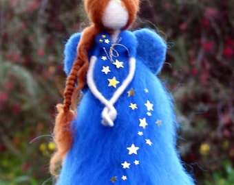 Christmas angel Fairy Needle felted Waldorf doll Christmas Decoration Art doll Tree topper
