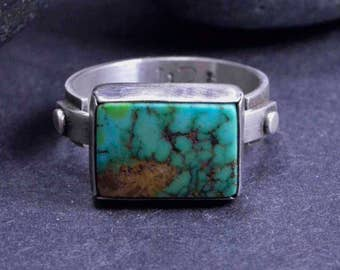 Turquoise Ring, Stamped Ring, Sterling Silver, Handmade Ring, Silversmith, Size 8 1/4