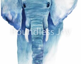 Blue Watercolor Elephant Vivid - Wild Animal Art Print