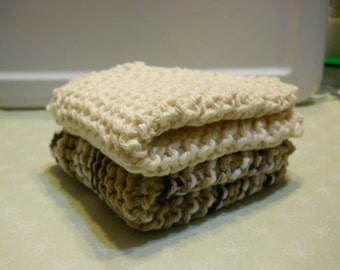 """Dishcloth's  Set of 2  Size 8 """"x 8 """" Knitted Dishcloth's,  Kitchen Dishcloth's, Cotton Dishcloth's, Cleaning Cloth's, Face Cloth's,"""