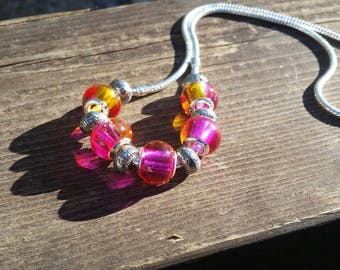 Pink and Orange Murano Glass 925 sterling silver core bead Snake Chain Necklace - Womens Jewelry Fashion - Gifts for Mom