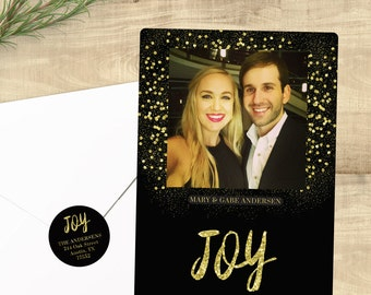 "Gold and Black Photo Holiday cards; ""Glitter Joy"" set of 24 with matching envelopes and return address labels"