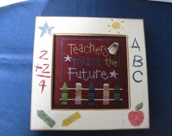 Vintage Counted Cross-Stitch Picture for a Teacher-with Stenciled Wood Frame Handmade  ER