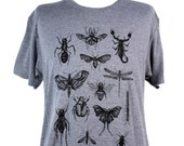 Screen Printed Insects & Bugs Shirt - Men's American Apparel Heather Grey Tri-Blend Graphic Tee