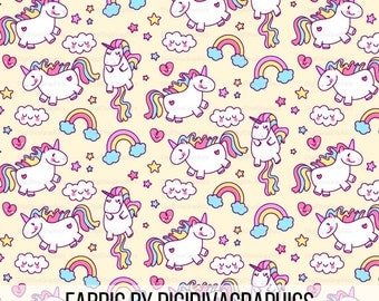Magical Unicorn Fabric By The Yard - Fantasy Rainbow Unicorns with Cute Clouds Stars and Hearts Print in Yards & Fat Quarter