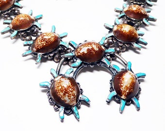 Sterling Squash Blossom Necklace - Old Pawn Navajo Zunie Turtle - Vintage Native American Indian  -  Hand Pressed Bench Beads ~ 238 Grams