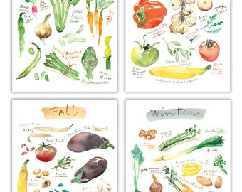Watercolor seasonal vegetable print set, 4X6 print, Kitchen art print, Vegetable art, Kitchen wall art, Kitchen decor, Food artwork, Veggie