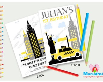 6 New York City Coloring Books, Children's Personalized Party Favors, Birthday Coloring Book  A1298