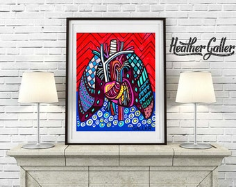 DIGITAL Print File - Heart Lungs Anatomy Folk Art Wall Art Decor, Instant Art Print, Printable Digital Instant Download, Science Medical