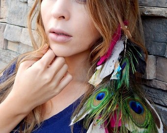 Peacock FEATHER Hair EXTENSIONS Gypsy Inspired Clip in Feather Hairpiece Bohemian Style Festival Wear Ethical Feathers Headdress