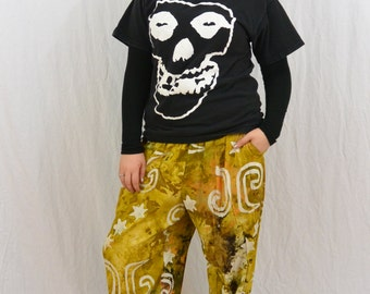 Vintage Celestial Pants, Size Medium-Large, Baggy Pants, Moon and Stars, Tie Dyed Pants, Funky Pants, Quirky Pants, Hippie, Hipster, Punk