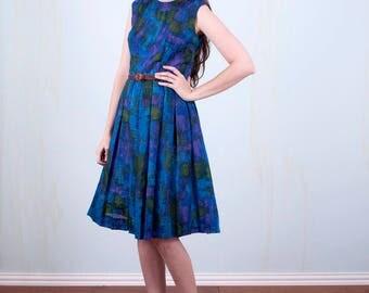 60's Dress Blue Watercolor Sleeveless Mod Mid Century Small Medium