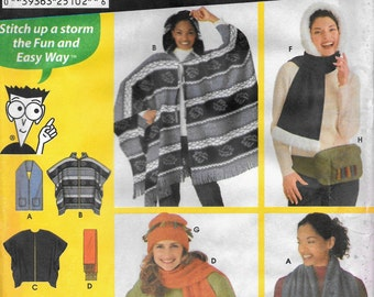 Simplicity 9822 Sewing for Dummies Fleece Poncho, Scarves,Hats, One Size UNCUT Sewing Patter