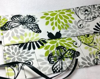 Green & Black Butterfly Modern Floral Crochet Hook Roll