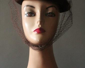 Vintage 30's Dark Chocolate Brown Wool Tilt Hat with Brown and Cream Grosgrain Ribbon and Brown Veil