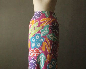 Vintage 90's Pink, orange, purple, blue, turquoise, yellow and lime green floral cotton skirt by Esprit, size L