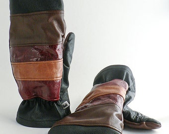 Mittens in recycled leather, polar lined, brown, black, red, burgundy - ecofriendly, ethical fashion, upcycled
