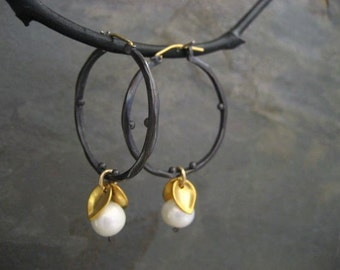 Pearl hoops, mixed metal earrings, leaf dangle, black and gold, freshwater pearl, statement earrings, pearl dangle