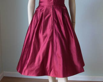 Rare 1950s Fira Benenson / Bonwit Salon de Couture Designer / Blood Red Silk Satin Dinner Dress with Details / Couture / Small
