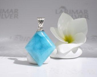 Larimar choker by Larimarandsilver, Mermaid Diam - Caribbean blue Larimar lozenge, turtleback, ocean blue diamond, handmade Larimar pendant