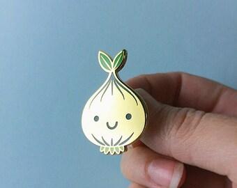 Bulb (GOLD) Hard Enamel Lapel Pin - hannakin happy onion sprout vegetable accessory - wearable art