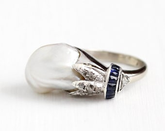 Vintage 10k White Gold Baroque Pearl , Diamond , & Sapphire Ring - Size 6 1/2 1920s Blue Gem Fine Statement Jewelry with Appraisal
