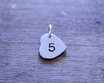 Hand Stamped Heart with Number, Number Charm, Jersey Number Charm, Letter Charm, Heart Charm, Silver Heart, Sideways Heart