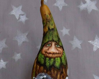 """Green Beard, gourd spirit, wood spirit, hand painted, carved art 8"""" tall; 12"""" with base"""