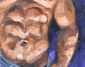 Tough Muscled Torso,  oil on canvas panel 12x9 inches by Kenney Mencher