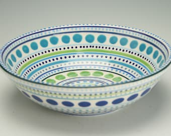Ceramic Bowl, Medium Serving Pottery Bowl, Large Personal Bowl, Stripes and Dots, Serving and Personal Bowl Dinnerware, Decorative Tableware
