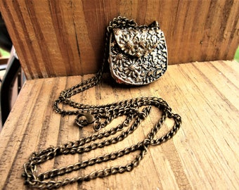 Vintage Costume Antiqued Metal Purse Necklace Very Long Necklace Hook Closure