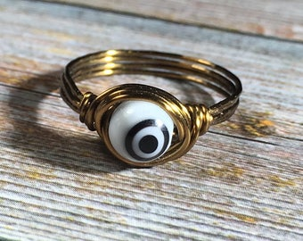 evil eye , black and white bead , antique brass wire wrapped ring - size 7 1/4 , 7.25 - women girl , handmade jewelry , unisex men boy
