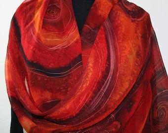 Red, Burgundy, Orange Hand Painted Chiffon Silk Scarf FIRE LOVE.  Luxurious Large Silk Shawl 22x90. Birthday Gift, Anniversary Gift