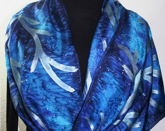 Blue, Silver Hand Painted Silk Scarf WINTER TWILIGHT. Large 14x72. Handmade Gift. Birthday Gift. Anniversary Gift. Valentine Gift
