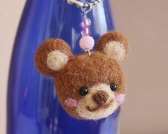Needle Felted Bear Keychain