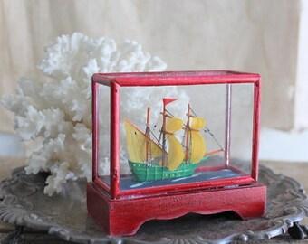 Vintage Miniature Model Ship Under Glass Display