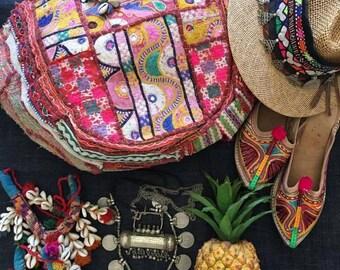 Vintage handmade Banjara Bag,Ethnic Embroidered Fabric Tote Bag,Tribal Bohemian lady Purse,Multi color embellished Banjara bag model -C