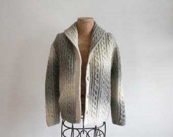 Ombre Knit Fisherman Cardigan Sweater