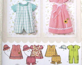 Simplicity Pattern 4243 - Babies Romper, Dress, Top, Panties and Hats - Sizes XXS-L - Easy To Sew Pattern - in English, Spanish and French.