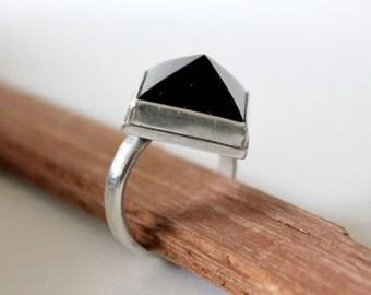 Onyx Black Pyramid Ring
