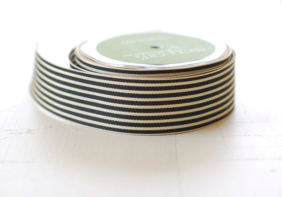 "BLACK + IVORY - 30 Yards of Ribbon - 1.5"" Wide Striped Grosgrain - Full Spool"